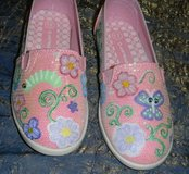 OOAK Hand Painted Girls 12 Pink Shimmer Slip-On Shoes Girly w/ Flowers in Kingwood, Texas