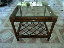 LARGE RATTAN / GLASS END TABLE in Cherry Point, North Carolina